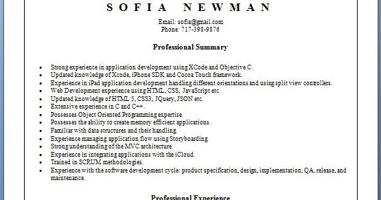 iphone developer sample resume format in word free download