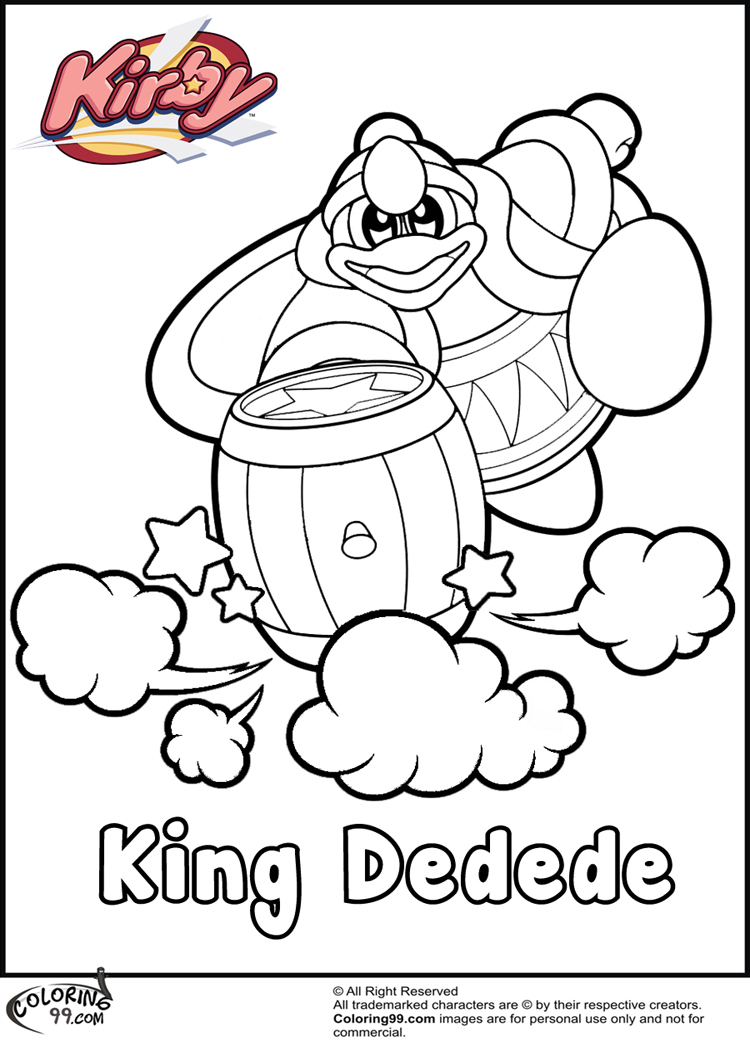 ice kirby coloring pages kirby king dedede coloring