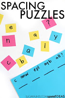 Spatial awareness puzzles for helping kids address visual perception skills needed for spacing between letters and words when writing.