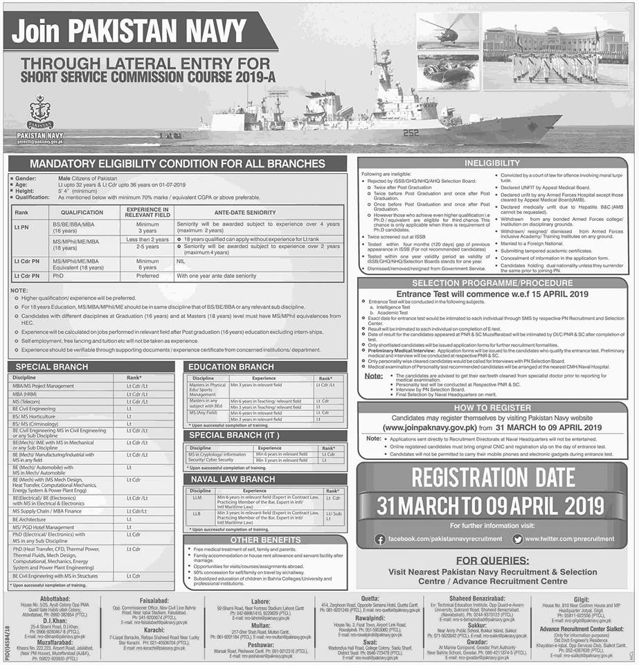 pak navy jobs 31 march, Join Pakistan Navy Short Service Commission Course 2019-A