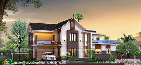2400 square feet sloping roof home