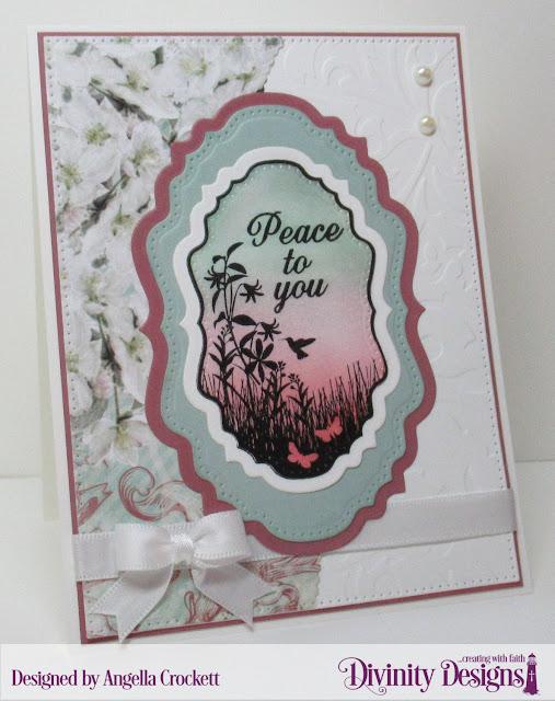 Divinity Designs: Vintage Bird Labels, Vintage Labels Dies, Double Pierced Vintage Lables Dies, Leafy Edged Borders Dies, Pierced Rectangles Dies, Flourishes Embossing Folder, Romantic Roses Paper Collection, Card Designer Angie Crockett