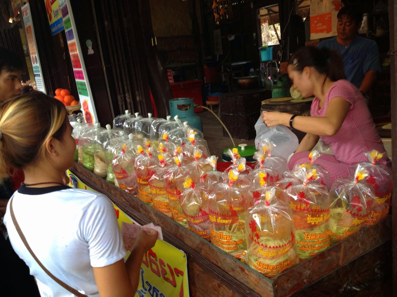 Ayutthaya - Ayothaya Floating Market - Merchant selling Roti Saimai