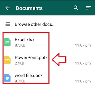 send excel, word,ppt and pdf in whatsapp