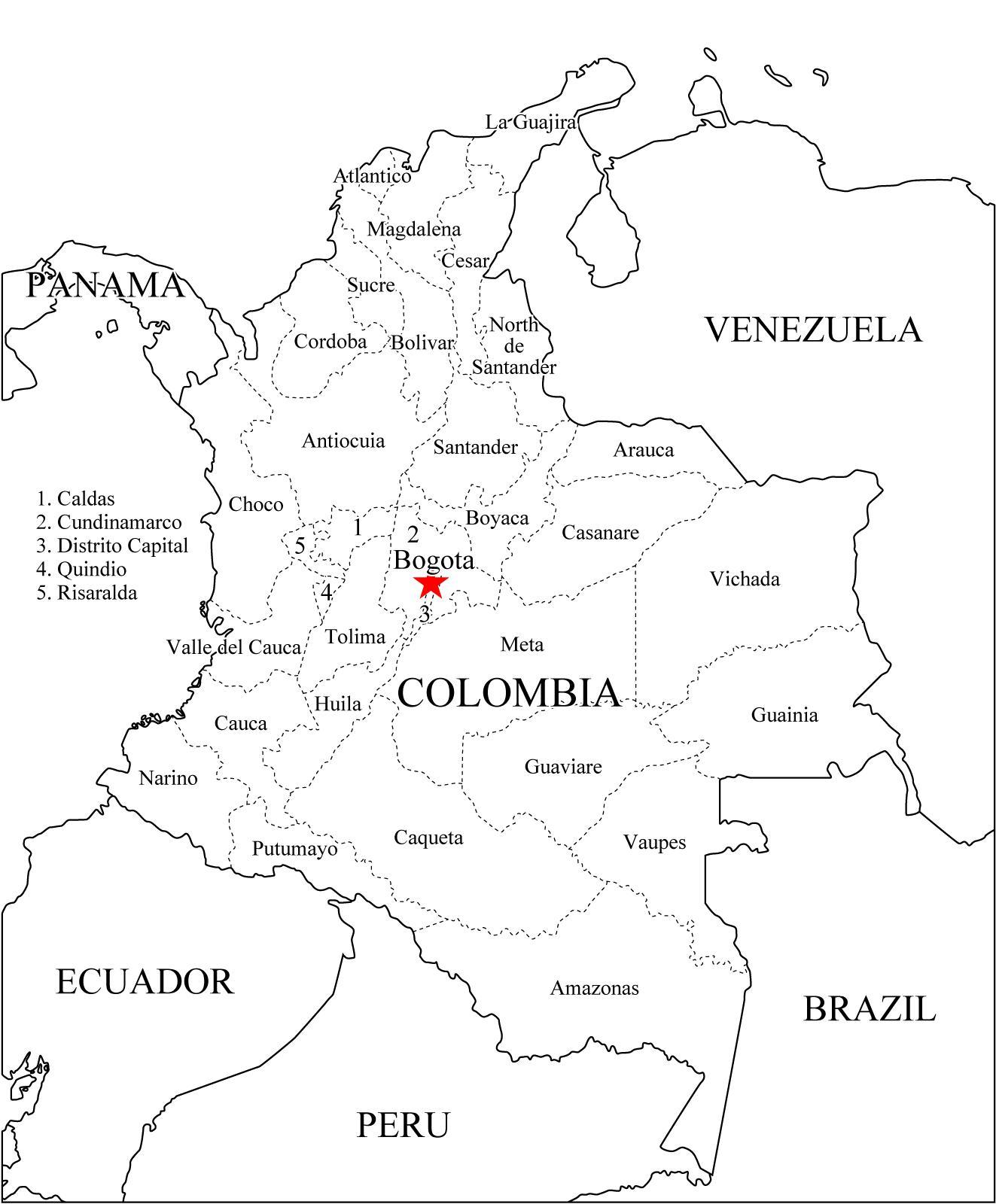 Mapa de Colombia,departamentos y capitales 2018 para dibujar ...