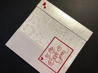 Hand Made Wedding Card with a Pearl Embossed Stencilled Panel