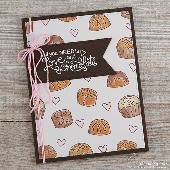 Love and Chocolate card by Juliana Michaels | Love & Chocolate stamp set by Newton's Nook Designs #newtonsnook