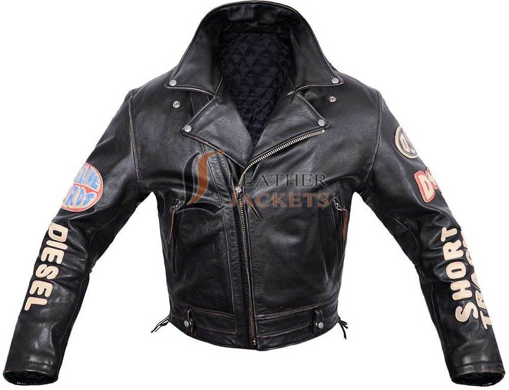 Patched leather jacket