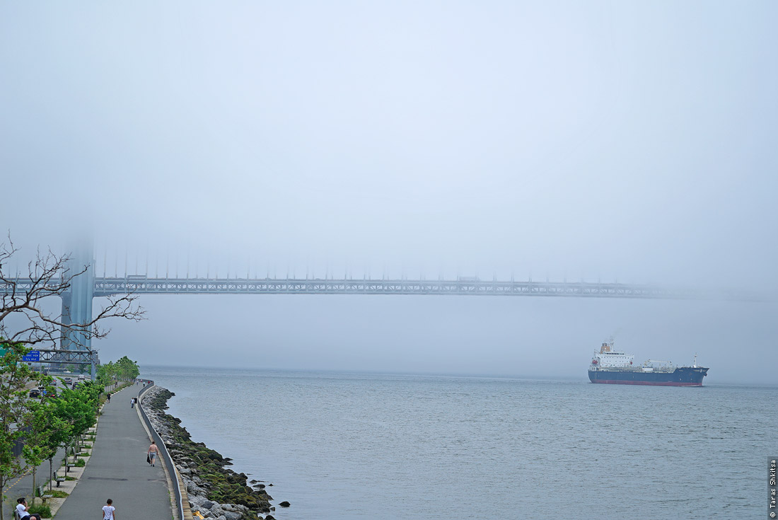 Fog on the bay. Ship. The Narrows, New York