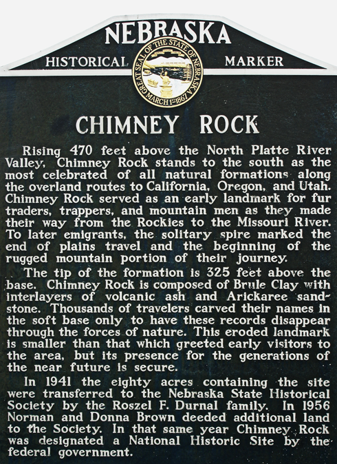 chimney rock nebraska oregon trail