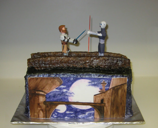 Star Wars: The Clone Wars Themed Cake - Obi-Wan Kenobi and Asajj Ventress Duel 3