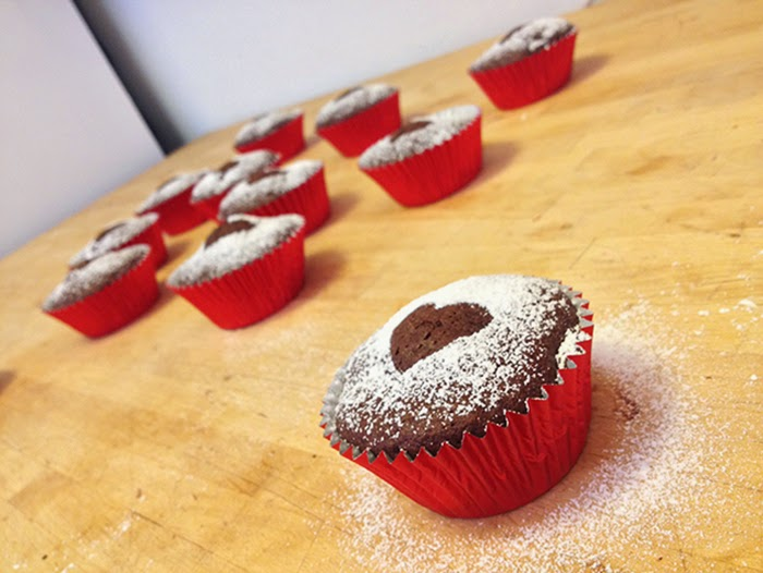 Chocolate Cupcakes Melt in Middle Valentines Treat Dessert Heart Love Anniversary