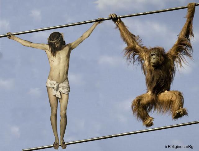 Jesus Monkeying Around Hanging On Monkey Bars