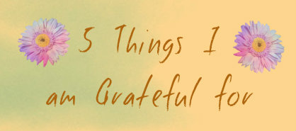 5 Things I am Grateful For.......