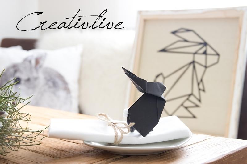 Origami-Hasen Für Den Ostertisch