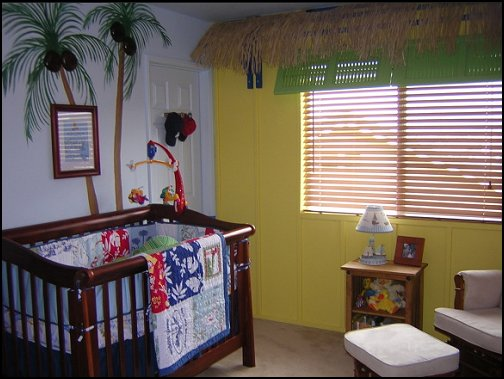 Tropical beach style bedroom decorating ideas - beach bedrooms - surfer theme rooms - tropical theme Hawaiian style decorating - raffia valance window ideas - tropical bedding - tropical wall murals - palm trees decor