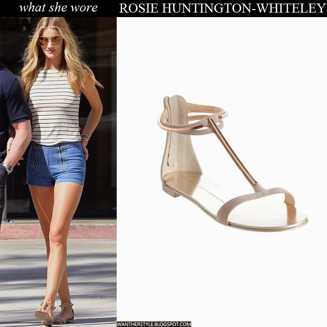 7ca2dfb2e2a8 WHAT SHE WORE  Rosie Huntington-Whiteley in denim shorts stripe top ...