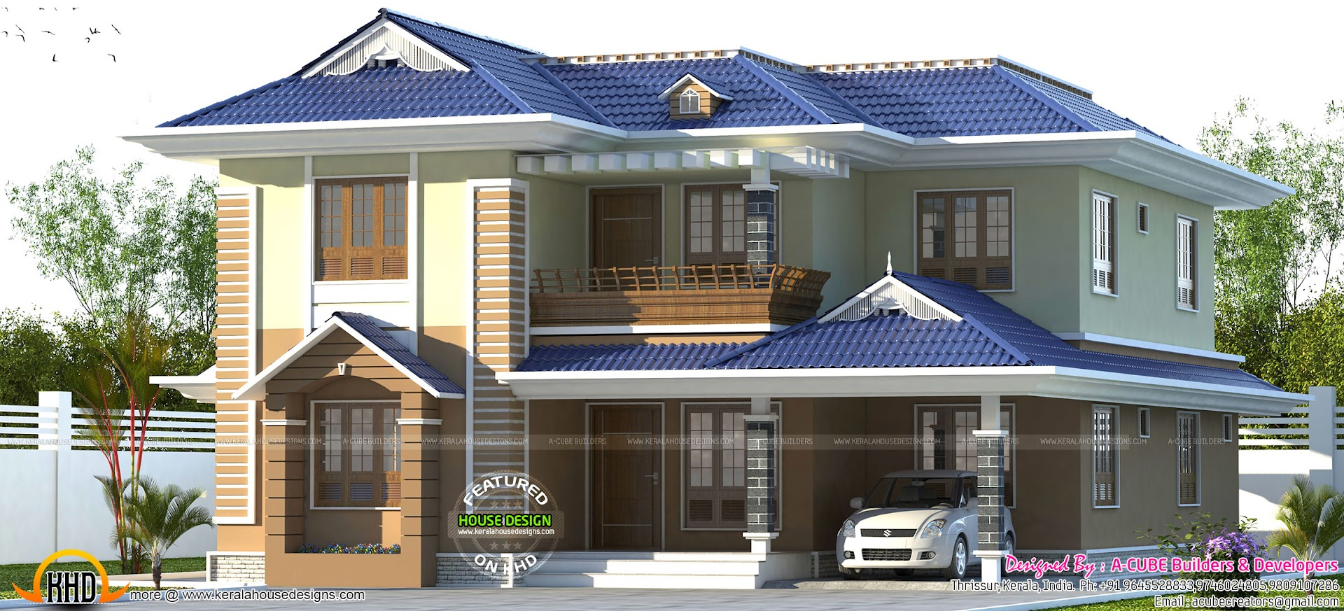 Blue Color Sloping Roof Kerala Home Design Kerala Home