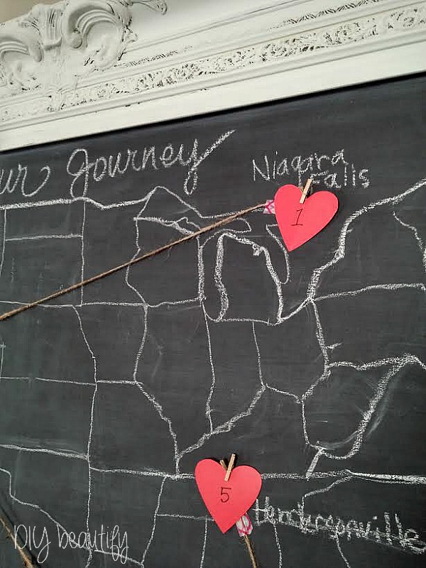 use red paper hearts to mark the places you've lived on a chalkboard map ~ DIY beautify