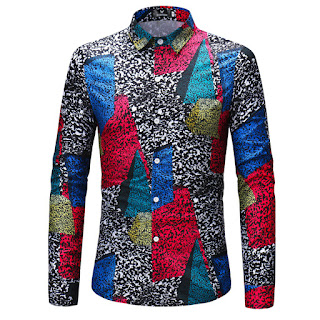 Men's Color Patch Printing Long Sleeve Shirt