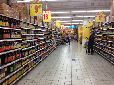 Soy sauce store aisles in Shanghai, China