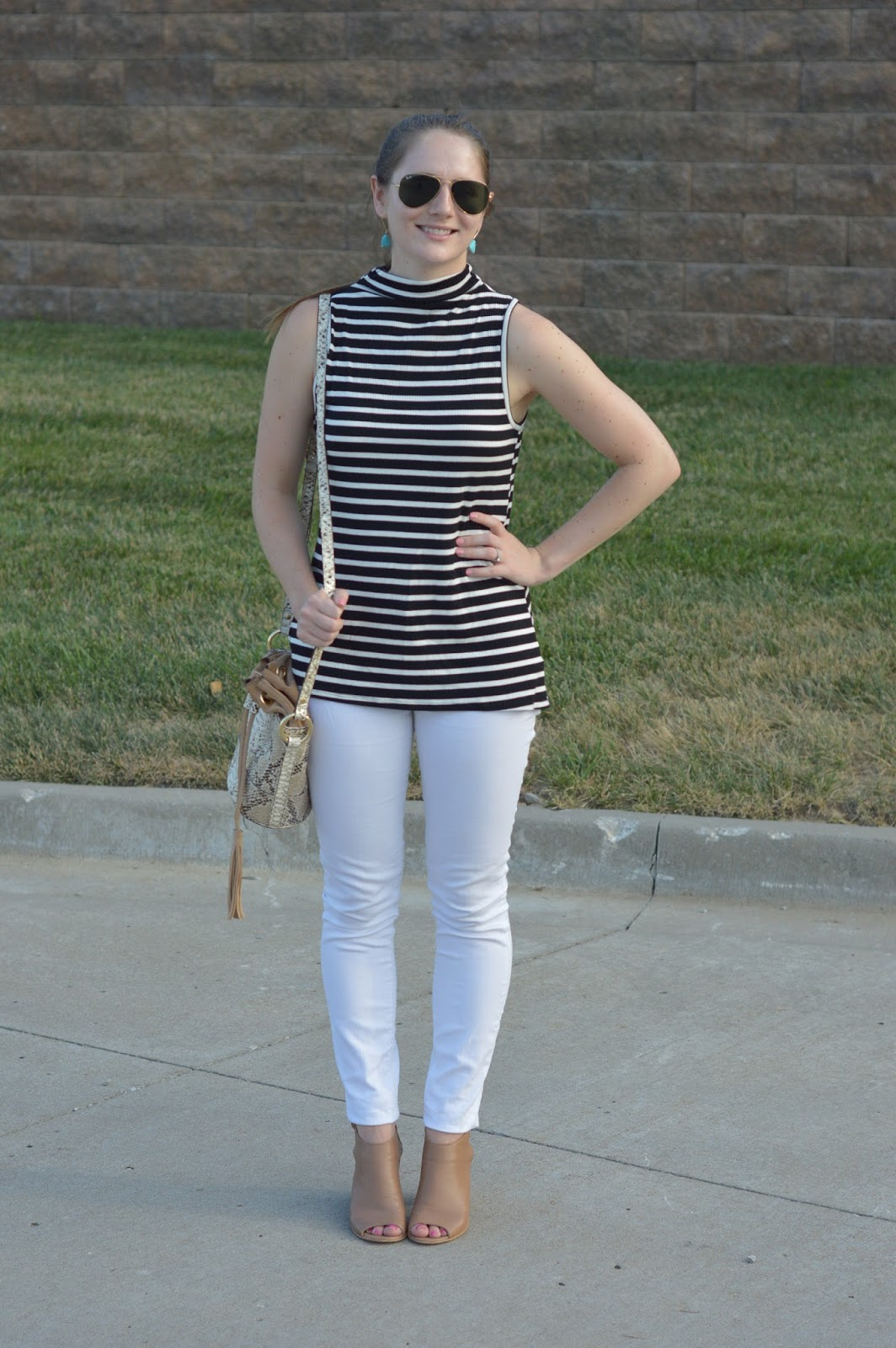 white jeans with peep toe booties and a striped top | what to wear with peep toed booties | summer outfit ideas | pattern mixing outfit ideas | how to mix patterns | snakeskin bucket bag | striped mock neck tank top | a memory of us