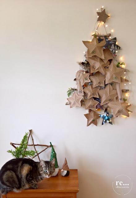 advent calendar, stars, christmas decor, gnome, cat, kalendarz adwentowy, dekoracje świąteczne, kot, gwiazdy
