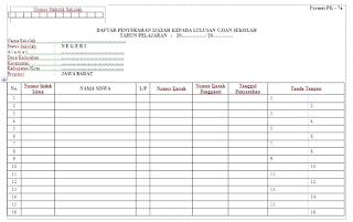 Contoh Format Daftar Penyerahan Ijazah Kepada Siswa Lulus Ujian Sekolah