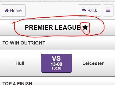 Step 5 - Click top Premier League Star button - Quick Selection Soccer Betting - Hollywoodbets Mobile