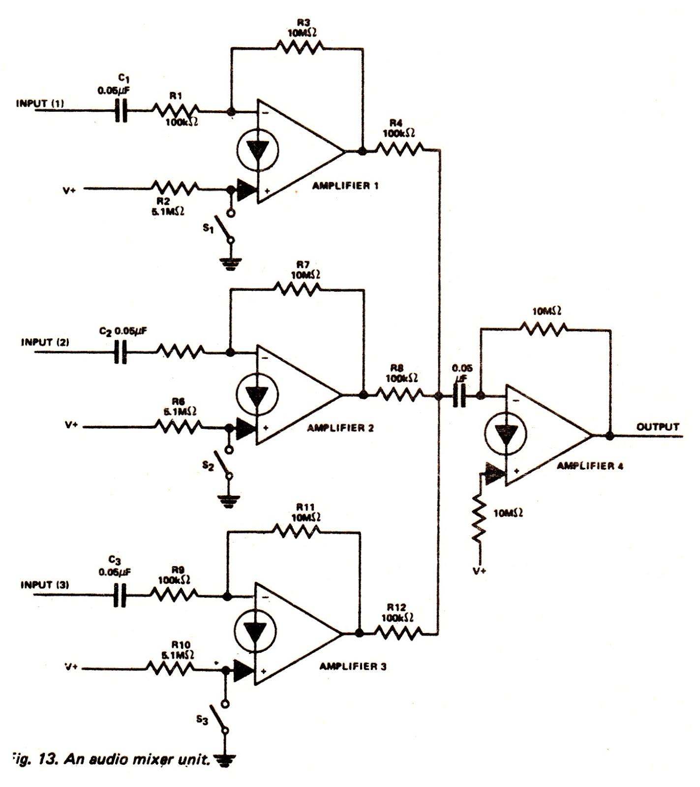 audio mixer circuit simple mixer circuit audio mixer circuit diagram passive audio mixer circuit audio mixer [ 1423 x 1600 Pixel ]