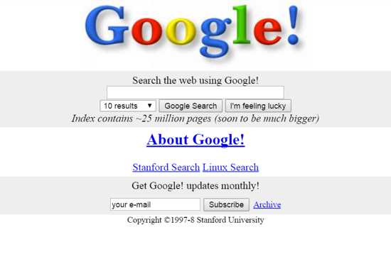 Google home page on Stanford's website