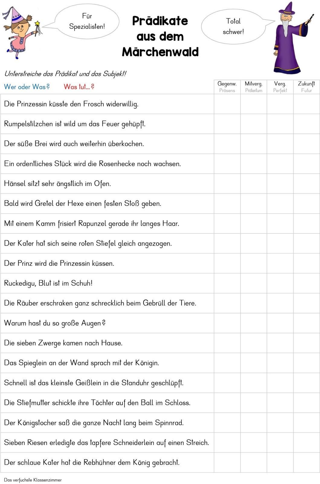 Tolle Grammatik Subjekt Und Prädikat Arbeitsblatt Fotos - Mathe ...