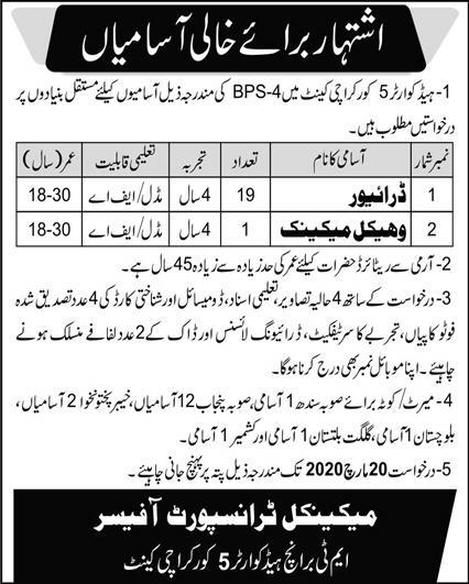 Pakistan Army Headquarter Jobs Latest Advertisement