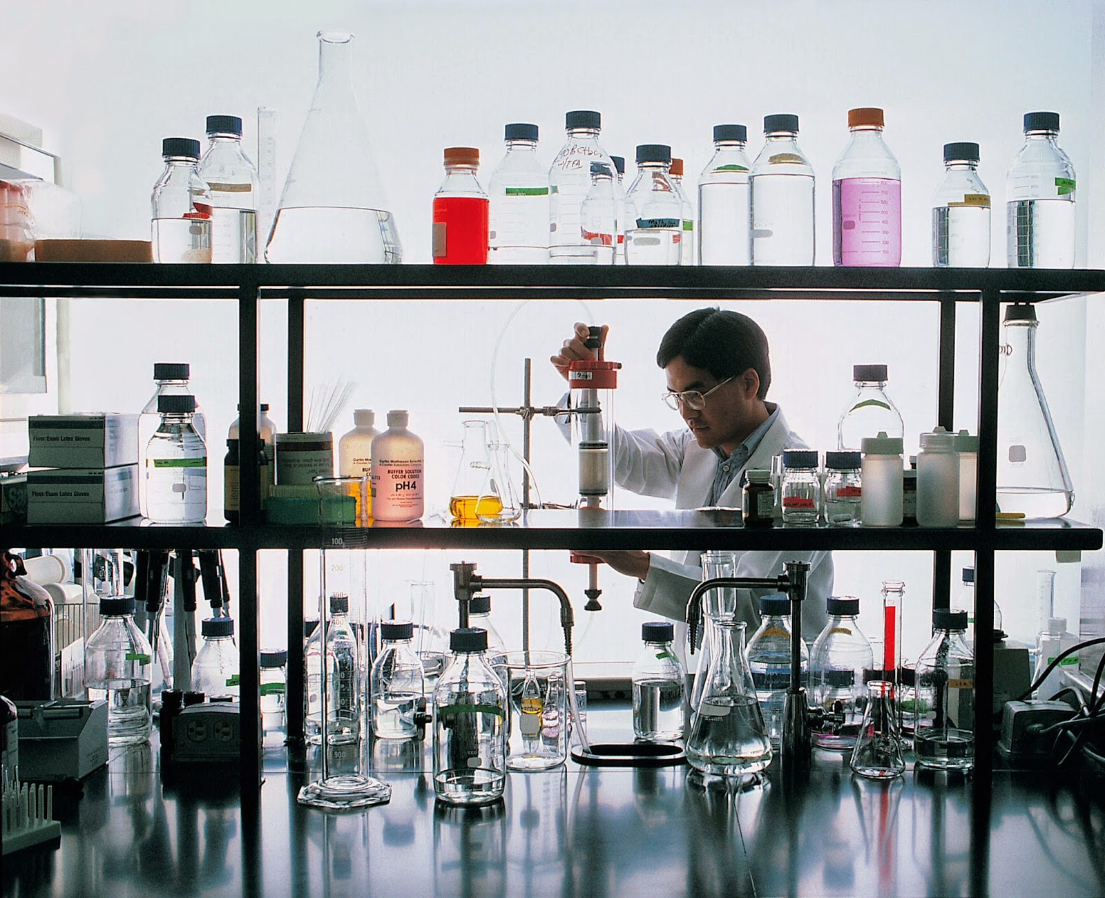 Scientist working with chemicals