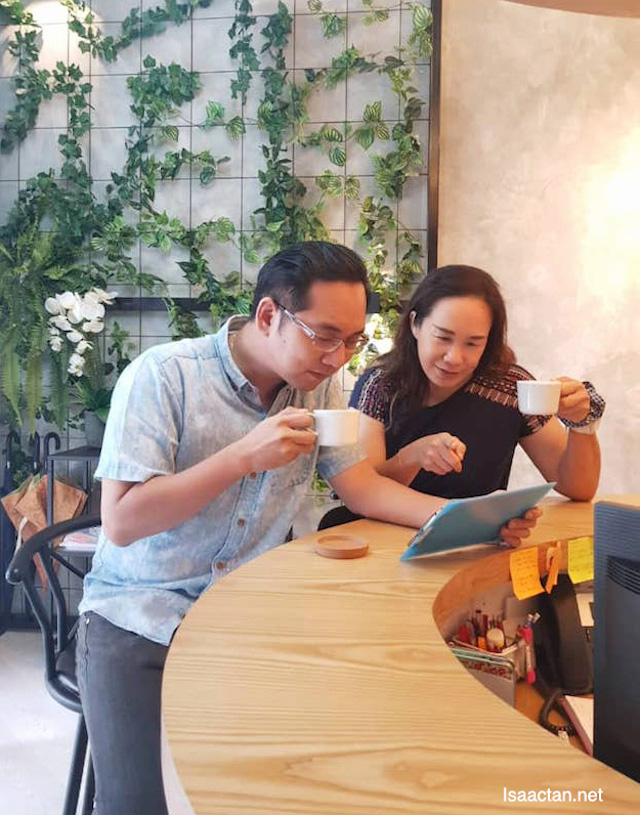 With Miera, choosing out massage packages over a cup of tea