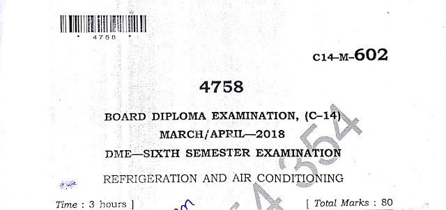 DIPLOMA REFRIGERATION AND AIR CONDITIONING PREVIOUS QUESTION PAPER 2018 C-14