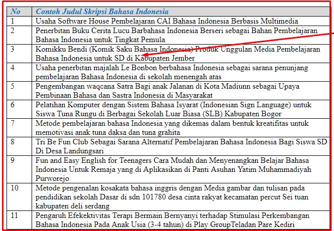 22 Contoh Judul Skripsi Bahasa Indonesia Terbaru Dan Lengkap Seputarpembahasan Com