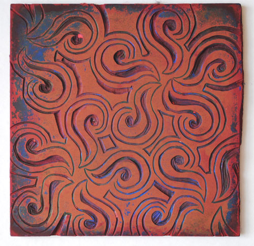 linocut swirl block
