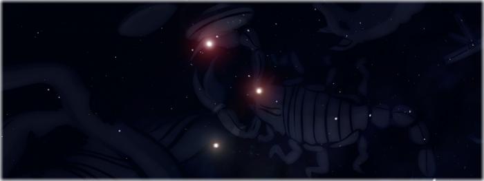 Marte, Saturno, Antares e Lua nos céus