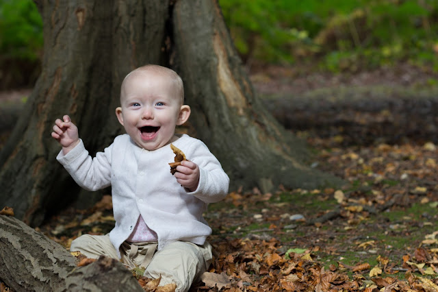 A 9 month old baby sitting on the floor if the forest on brown leaves next to a log and in front of a tree