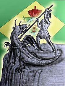 Figura representando o Caboclo vencendo o Dragão da Tirania - Dois de Julho - Independência da Bahia
