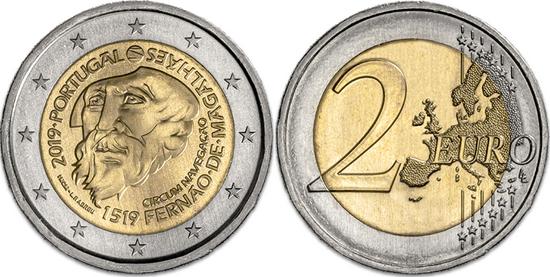 Portugal bimetallic 2 euro coin 2019 Ferdinand Magellan