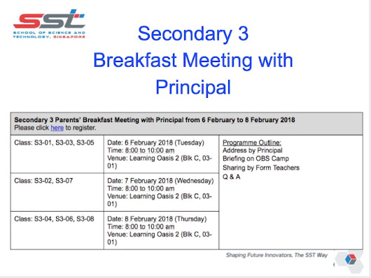 Secondary 3 Breakfast Meeting with Principal