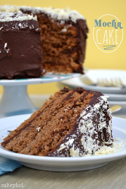 coffee flavour cake with fudgy chocolate frosting