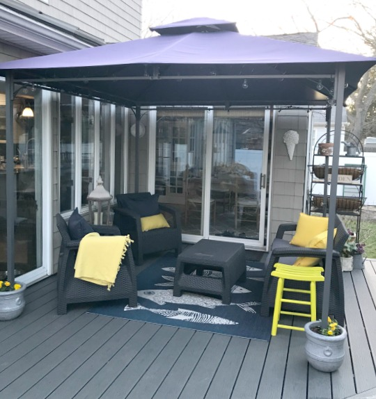 Outdoor decking and a solution for weighing down the gazebo