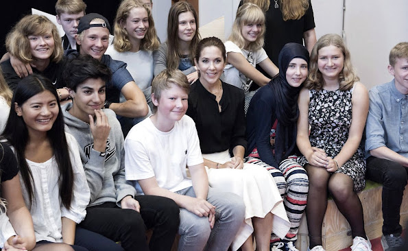 "Crown Princess Mary of Denmark participates in the event ""Loving Action"" with Mary Foundation on Guldberg School in Copenhagen"
