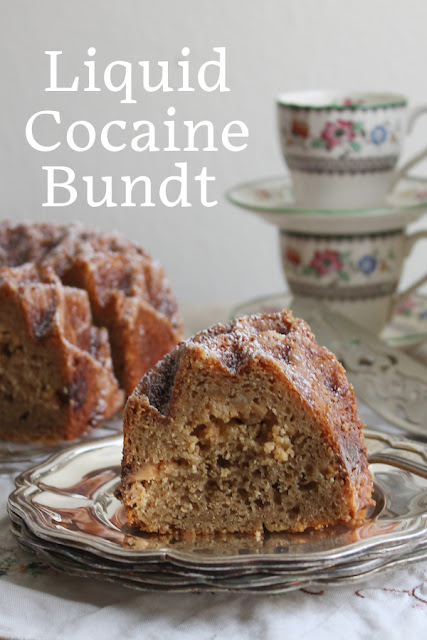 Food Lust People Love: Strong espresso and melted white chocolate combine to make a special dessert cake I'm calling a Liquid Cocaine Bundt. It's great with a cup of tea or coffee, cake you can even legitimately nosh for breakfast.