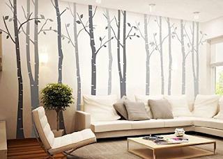 Hiasan dinding ruang tamu minimalis, wall sticker motif pepohonan