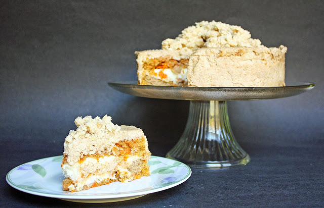 Momofuku-inspired vegan carrot layer cake with liquid cheesecake filling and graham frosting