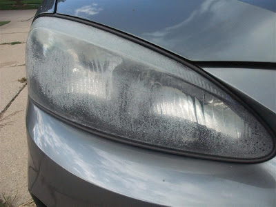clean fogged headlights, car, pontiac, plastic, peeling